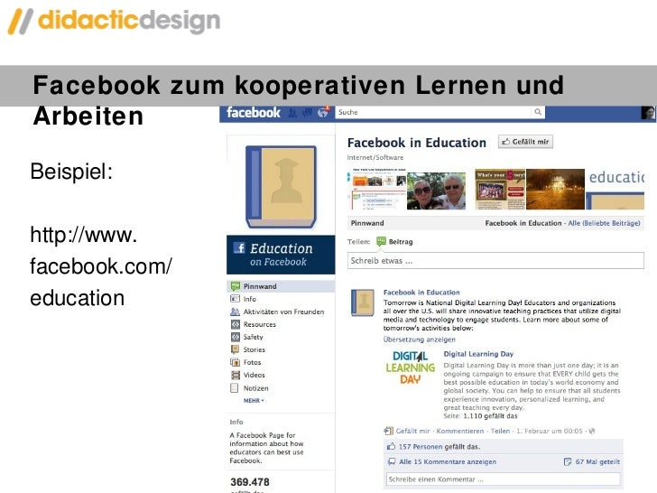 Facebook zum kooperativen Lernen und Arbeiten <ul><li>Beispiel:  </li></ul><ul><li>http://www. </li></ul><ul><li>facebook....