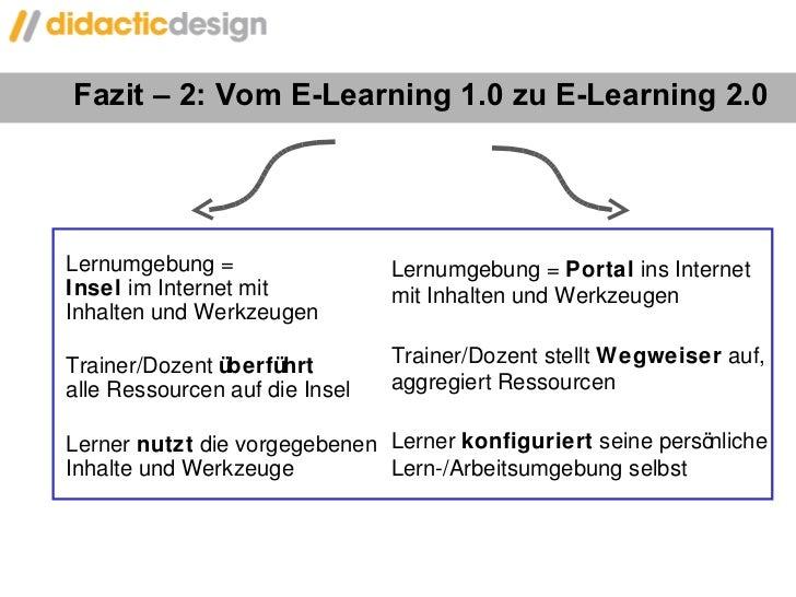 Fazit – 2: Vom E-Learning 1.0 zu E-Learning 2.0 Lernumgebung =  Insel  im Internet mit  Inhalten und Werkzeugen Trainer/Do...