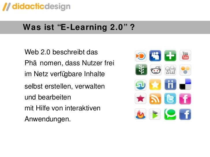 """Was ist  """" E-Learning 2.0 """"  ? Web 2.0 beschreibt das Phänomen, dass Nutzer frei im Netz verfügbare Inhalte  selbst erstel..."""
