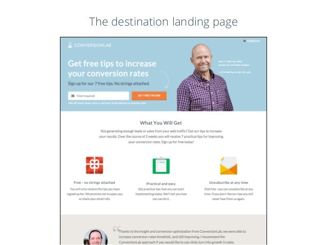 The destination landing page