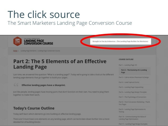 The click source The Smart Marketers Landing Page Conversion Course