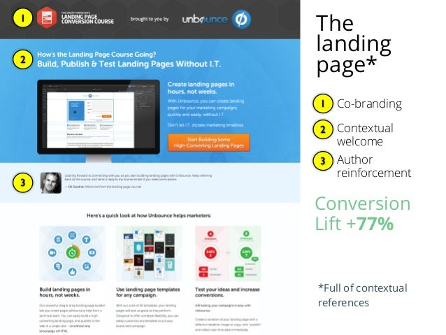 Co-branding1 1 2 Contextual welcome 2 Author reinforcement 3 3 Conversion Lift +77% *Full of contextual references The lan...