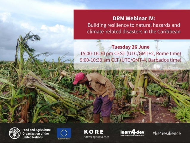 DRM Webinar IV: Building resilience to natural hazards and climate- related disasters in the Caribbean Daniele Barelli, Su...