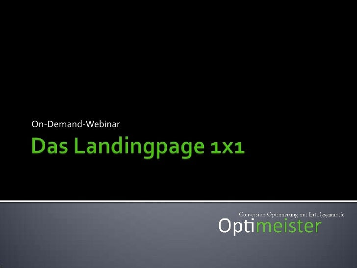 Das Landingpage 1x1<br />On-Demand-Webinar<br />