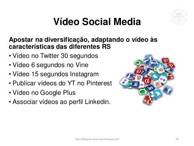 Vídeo Social Media Apostar na diversificação, adaptando o vídeo às características das diferentes RS • Vídeo no Twitter 30...