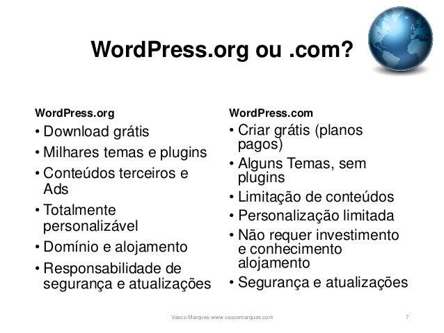 WordPress.org ou .com? WordPress.org • Download grátis • Milhares temas e plugins • Conteúdos terceiros e Ads • Totalmente...