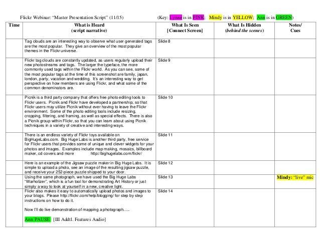 "Flickr Webinar: ""Master Presentation Script"" (11/15) (Key: Lynne is in PINK; Mindy is in YELLOW; Ann is in GREEN) Time Wha..."