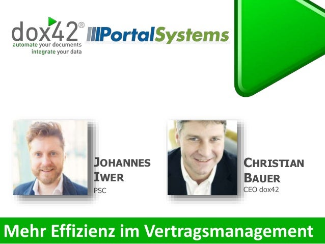 CHRISTIAN BAUER CEO dox42 JOHANNES IWER PSC