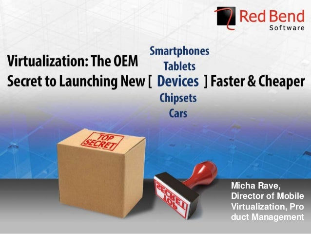 © 2013 Red Bend Software - Confidential Micha Rave, Director of Mobile Virtualization, Pro duct Management