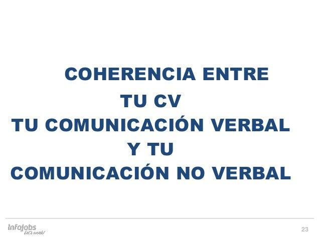 23 COHERENCIA ENTRE TU CV TU COMUNICACIÓN VERBAL Y TU COMUNICACIÓN NO VERBAL