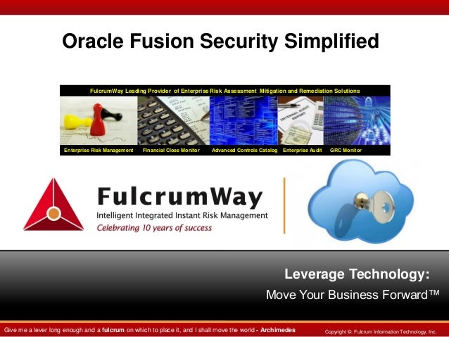 Oracle Fusion Security Simplified FulcrumWay Leading Provider of Enterprise Risk Assessment Mitigation and Remediation Sol...