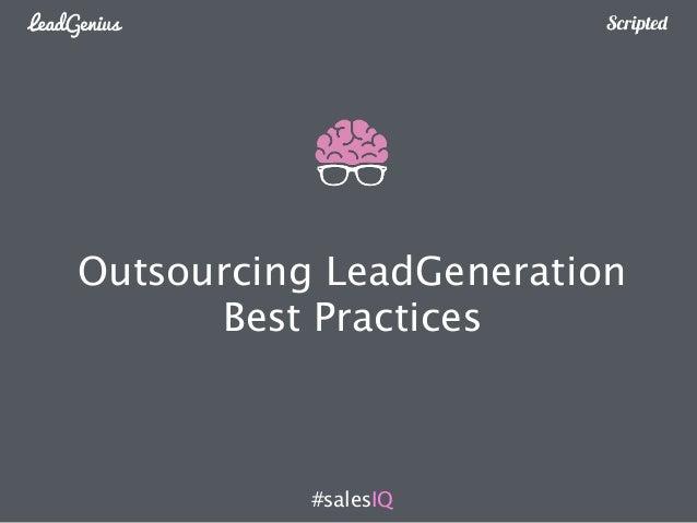 Outsourcing LeadGeneration  Best Practices  #salesIQ