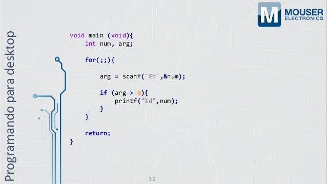 """Programandoparadesktop void main (void){ int num, arg; for(;;){ arg = scanf(""""%d"""",&num); if (arg > 0){ printf(""""%d"""",num); } ..."""