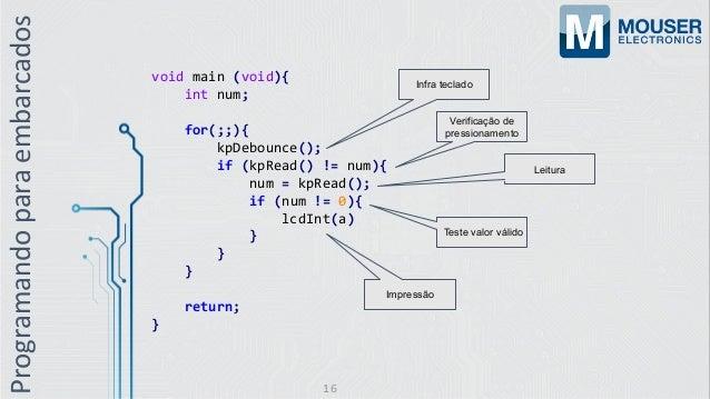 Programandoparaembarcados void main (void){ int num; for(;;){ kpDebounce(); if (kpRead() != num){ num = kpRead(); if (num ...