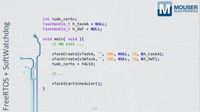 int tudo_certo; TaskHandle_t h_taskA = NULL; TaskHandle_t h_SWT = NULL; void main( void ){ // HW init ... xTaskCreate(vTas...