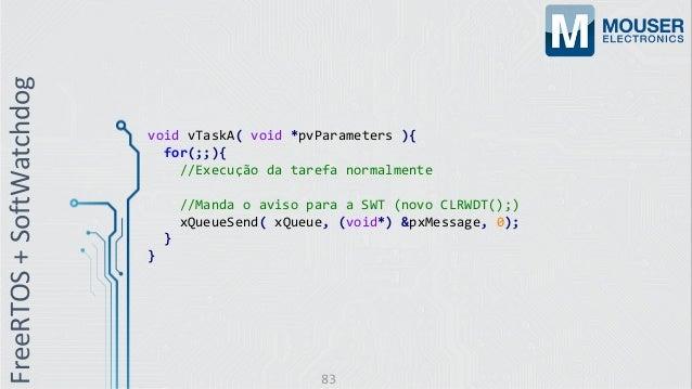 void vTaskA( void *pvParameters ){ for(;;){ //Execução da tarefa normalmente //Manda o aviso para a SWT (novo CLRWDT();) x...
