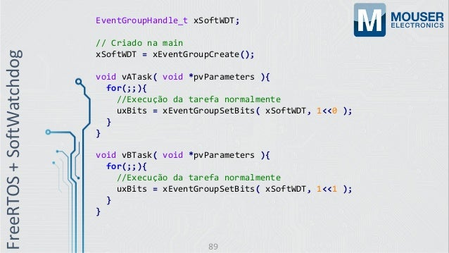 EventGroupHandle_t xSoftWDT; // Criado na main xSoftWDT = xEventGroupCreate(); void vATask( void *pvParameters ){ for(;;){...