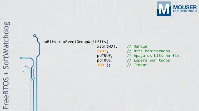 uxBits = xEventGroupWaitBits( xSoftWDT, // Handle 0x03, // Bits monitorados pdTRUE, // Apaga os bits no fim pdTRUE, // Esp...