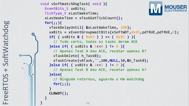 void vSoftWatchDogTask( void ){ EventBits_t uxBits; TickType_t xLastWakeTime; xLastWakeTime = xTaskGetTickCount(); for(;;)...
