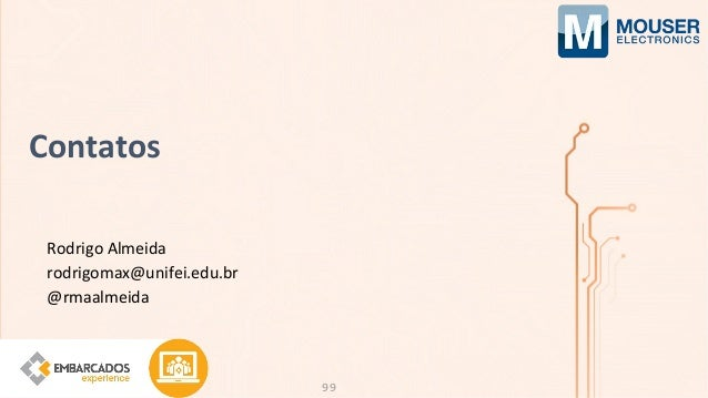 Rodrigo Almeida rodrigomax@unifei.edu.br @rmaalmeida Contatos 99
