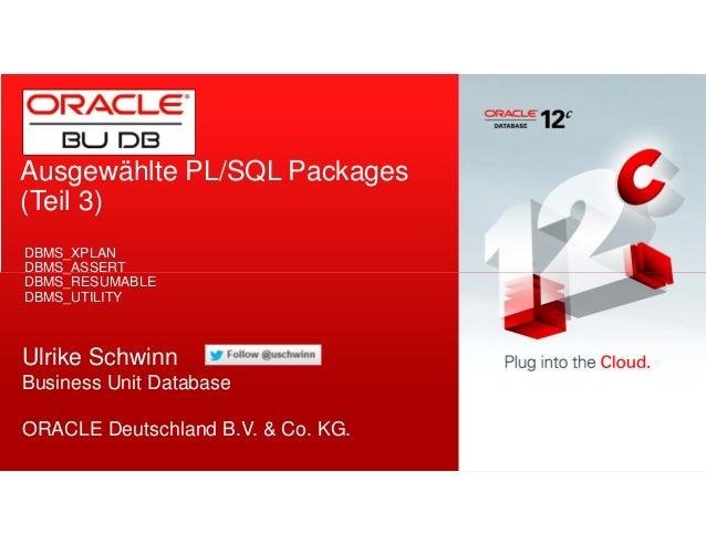 Ausgewählte PL/SQL Packages  (Teil 3)  DBMS_XPLAN  DBMS_ASSERT  DBMS_RESUMABLE  DBMS_UTILITY  Ulrike Schwinn  Business Uni...