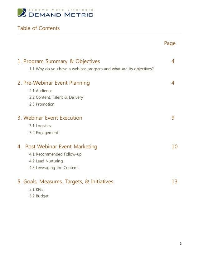 demand management plan template - webinar plan template