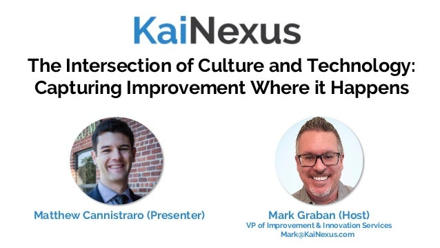 The Intersection of Culture and Technology: Capturing Improvement Where it Happens Mark Graban (Host) VP of Improvement & ...