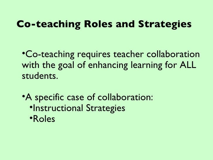 Collaborative Teaching Goals : Collaboration and co teaching workshop