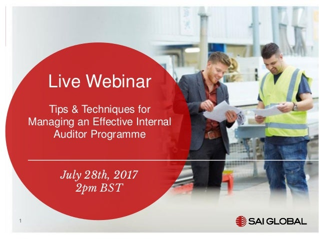 SAI Global Webinar: Tips for Effective Internal Auditing