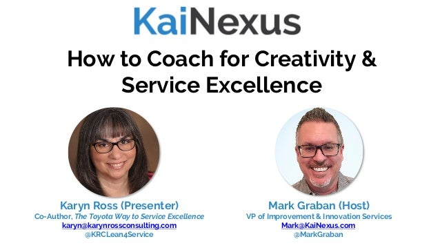 How to Coach for Creativity & Service Excellence Mark Graban (Host) VP of Improvement & Innovation Services Mark@KaiNexus....