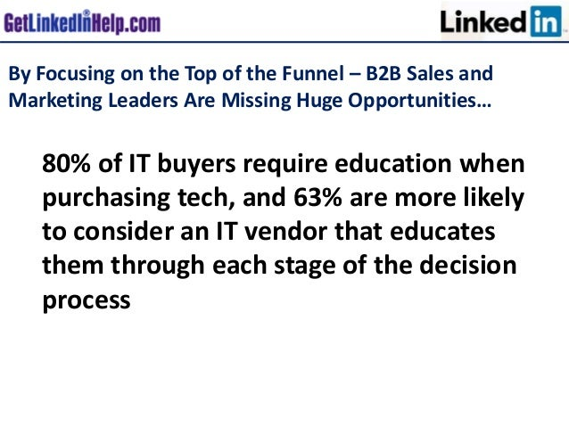 By Focusing on the Top of the Funnel – B2B Sales and Marketing Leaders Are Missing Huge Opportunities… 80% of IT buyers re...