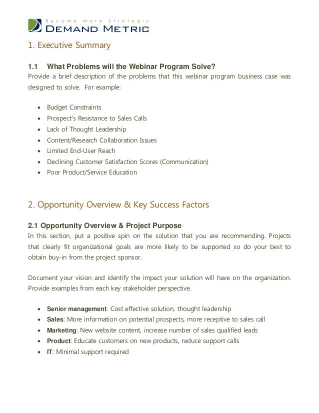 Webinar program business case template recommendation 12 61 action plan 4 wajeb Image collections