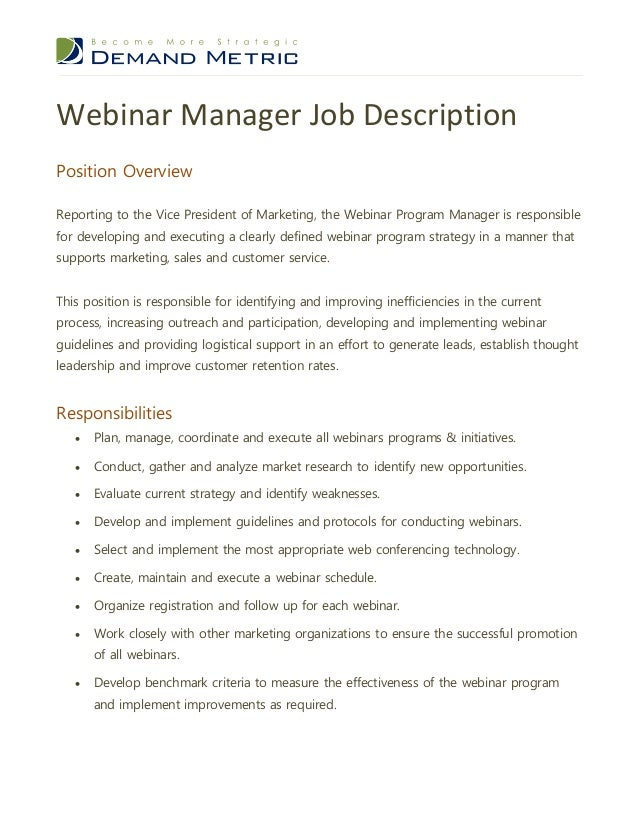 webinar program manager job description
