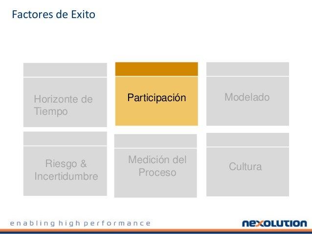 Factores de Exito Horizonte de Tiempo Participación Cultura Modelado Medición del Proceso Riesgo & Incertidumbre