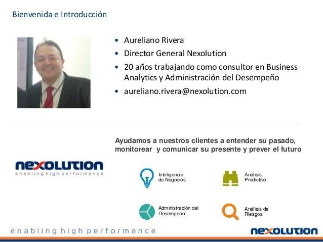 Bienvenida e Introducción  Aureliano Rivera  Director General Nexolution  20 años trabajando como consultor en Business...