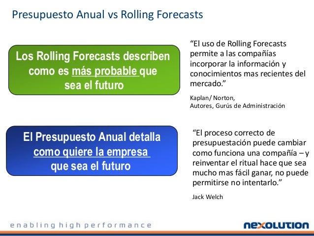 El Presupuesto Anual detalla como quiere la empresa que sea el futuro Los Rolling Forecasts describen como es más probable...