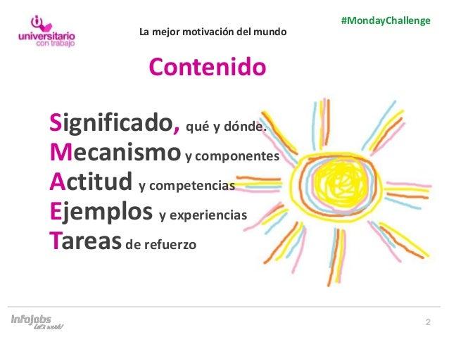 2 #MondayChallenge Significado, qué y dónde. Mecanismoy componentes Actitud y competencias Ejemplos y experiencias Tareasd...