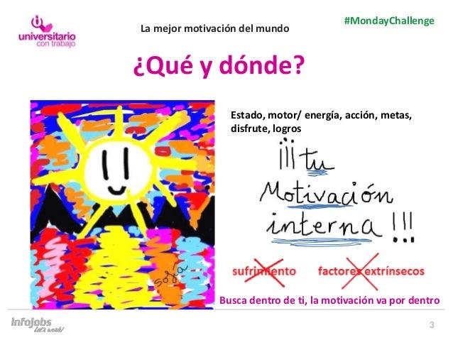3 #MondayChallenge ¿Qué y dónde? Busca dentro de ti, la motivación va por dentro Estado, motor/ energía, acción, metas, di...