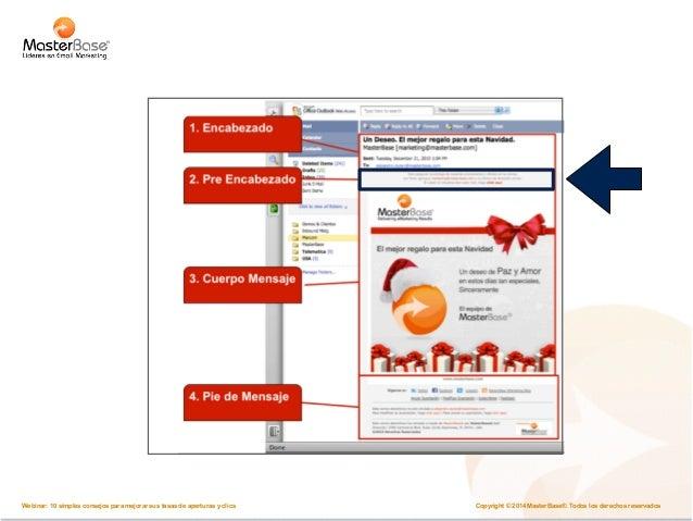 Optimice sus emails  7. en móviles  64%  lee los emails en un  dispositivo móvil  Copyright © 2014 MasterBase®. Todos los ...