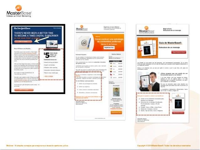 Copyright © 2014 MasterBase®. Todos los Webinar: 10 simples consejos para mejorar sus tasas de aperturas y clics derechos ...