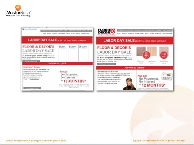 Email en móviles  Copyright © 2014 MasterBase®. Todos los Webinar: 10 simples consejos para mejorar sus tasas de aperturas...