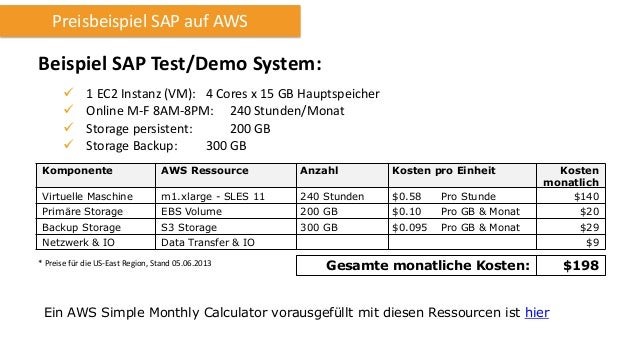 Preisbeispiel SAP auf AWS  Beispiel SAP Test/Demo System:      1 EC2 Instanz (VM): 4 Cores x 15 GB Hauptspeicher Onlin...