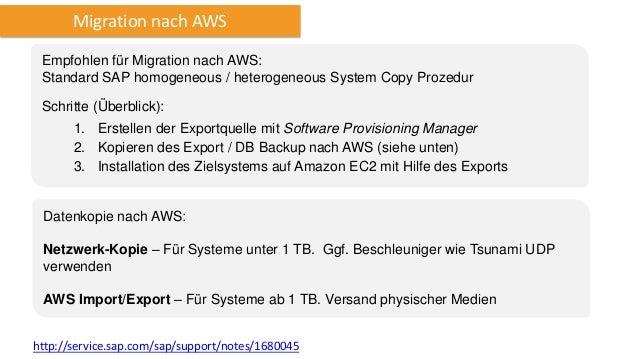 Backup und Recovery Der SAP on AWS Backup and Recovery Guide gibt einen Überblick über das Backup von SAP Systemen auf AWS...