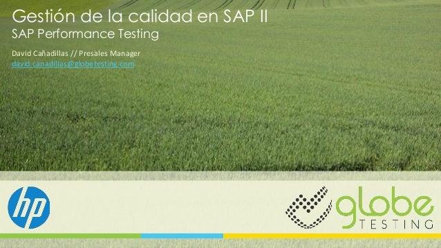 Gestión de la calidad en SAP II SAP Performance Testing David Cañadillas // Presales Manager david.canadillas@globetesting...
