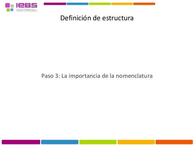 Definición de estructura Paso 2: La importancia de la nomenclatura • MarcaBR • CategoríaCAT • Categoría GeneralCAT TOP • C...