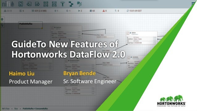 GuideTo New Features of Hortonworks DataFlow 2.0 Haimo Liu Product Manager Bryan Bende Sr. Software Engineer