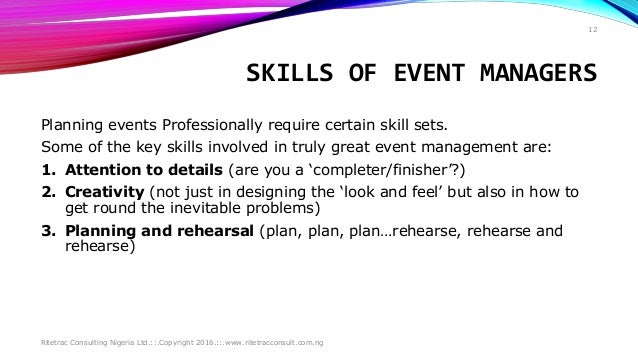 ... 12. SKILLS OF EVENT MANAGERS ...