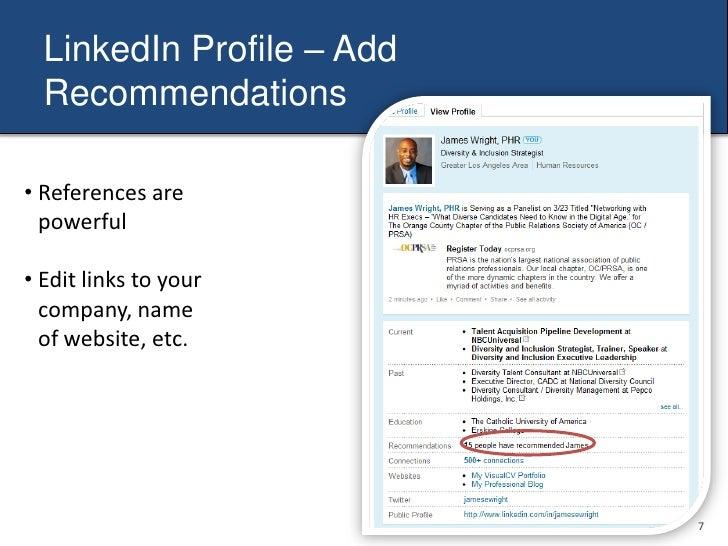 LinkedIn Profile - Headline<br /><ul><li>Use