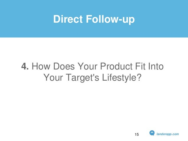 4. How Does Your Product Fit Into Your Target's Lifestyle? Direct Follow-up landerapp.com15