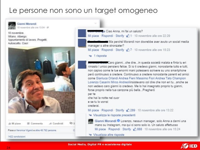 Social Media, Digital PR e ecosistema digitale Le persone non sono un target omogeneo 24